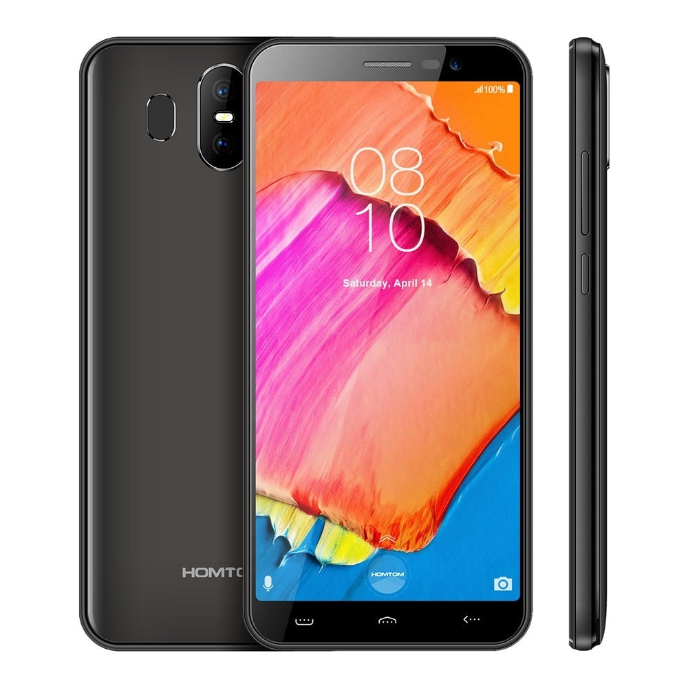 Homtom S17 MT6580 Quad Core 5.5 inch HD  Screen Smartphone 2GB RAM 16GB ROM Phone 13MP 2MP Dual Back Cam Face ID Mobile Phone