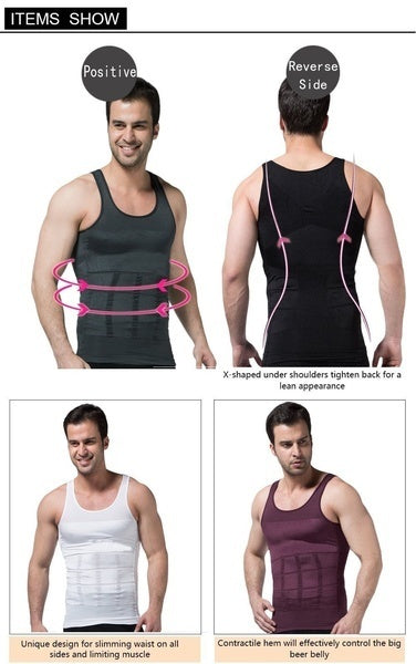 Men Body Slimming Tummy Shaper Belly Underwear shapewear Waist Girdle Shirt