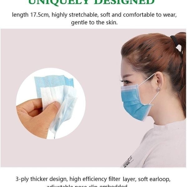 50/30/10Pcs Disposable Sanitary Masks-Face Mask with Earloops Surgical Medical Face Masks Hypoallergenic Protect Yourself Against Dust Pollen Allergens Flu 3-Ply Safety Face Masks(Blue,White)