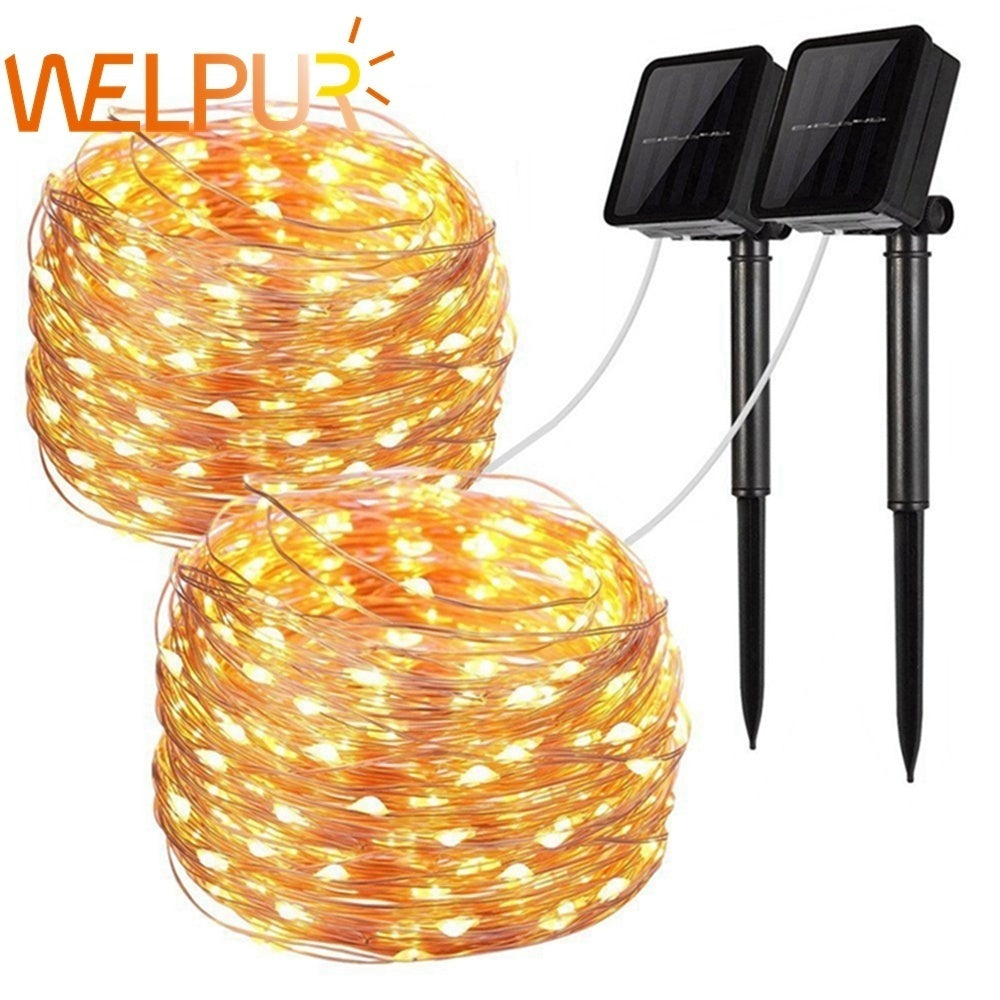 1M/2M/3M//5M/10M/15M/20M 10/30/50/100/150/200LEDs Solar String Lights 8 Modes Solar Powered /USB Powered Copper Wire Fairy Lights IP65 Waterproof Indoor Outdoor Lighting for Home, Garden, Party, Path, Lawn, Wedding, Christmas, DIY Decoration