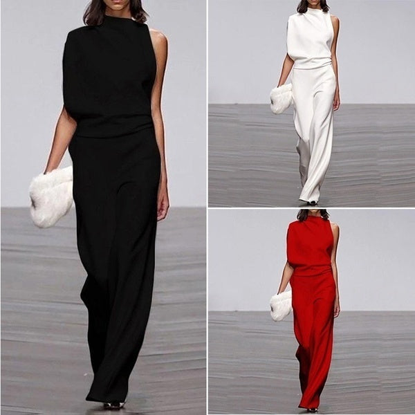 Women's Fashion Short Sleeve Off Shoulder Sexy Solid Color Wide Leg Jumpsuits