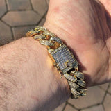 HOT Heavy Men's Iced Out Cuban Link Finish Miami Bracelet 14k Gold Filled Stainless Steel Diamonds Hip Hop Jewelry