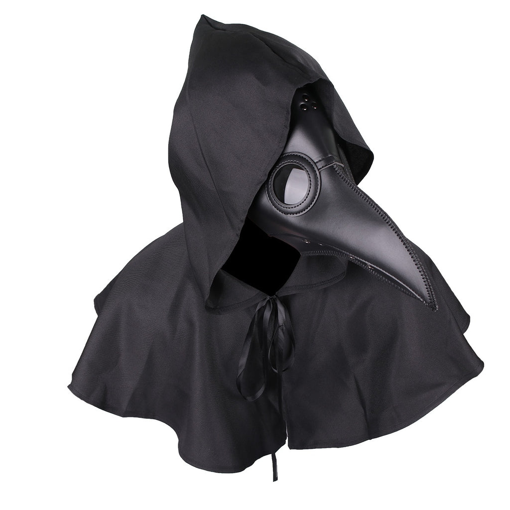 Plague Doctor Bird Leather Mask + Cloak Long Nose Beak Cosplay Steampunk for Halloween Costume Props