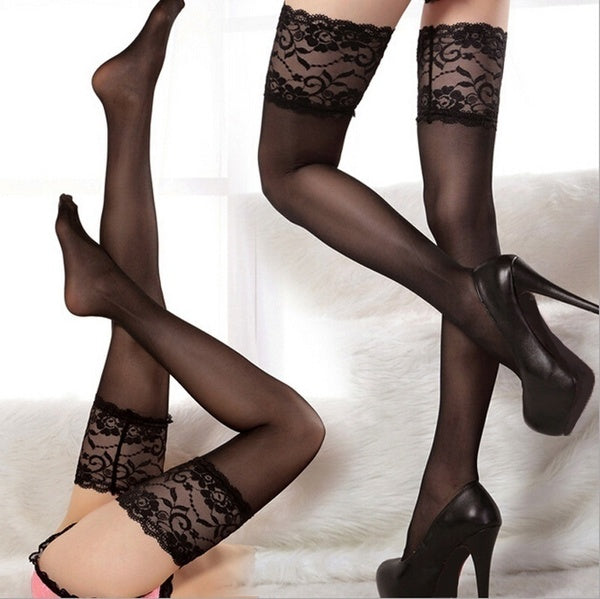 Sexy Thigh Stocking Lace Top Stay Up Thigh High Stockings Nightclubs Pantyhose Fashion Women Ladies Girls Silk Stockings Boots Leggings