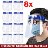 3/5/16X Fat Man Size 33X22cm Transparent Adjustable Full Face Shield Plastic Anti-fog Anti-spit Protective Mask