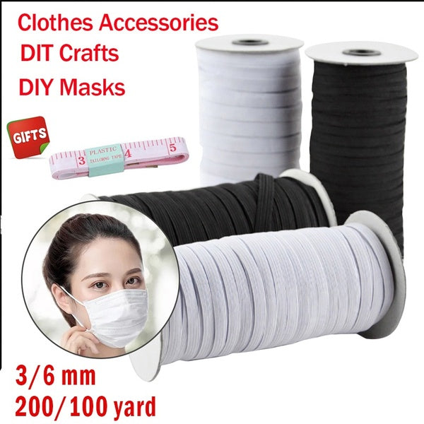 144/135 Yard 3/6mm Disposable Material Mask Elastic Band Hanging Ear Strap Cord Braided Elastic Cord / Elastic Band /bungee/white heavy strength knitting elastic spool