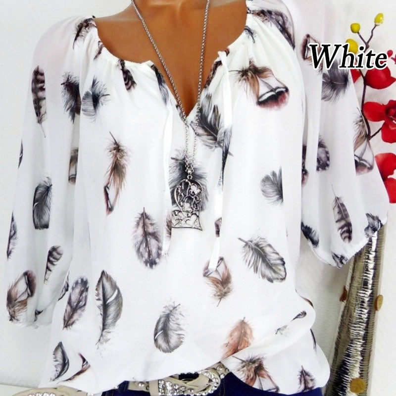 Loose Feather Print V-neck Five-point Sleeve T-Shirt Chiffon Shirt