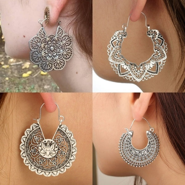 13 Styles Gypsy Tribal Classics Brass Hoop Earring Dangle Drop Earrings Flower Lotus Mandala Earring For Women Boho Vintage Earring