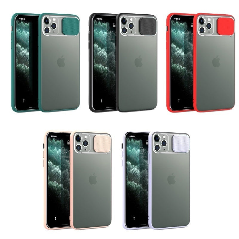 Slide Camera Lens Protection Shockproof Phone Case For iPhone 11 Pro Max XR XS Max 7 8 Plus X Soft TPU Matte Back Cover
