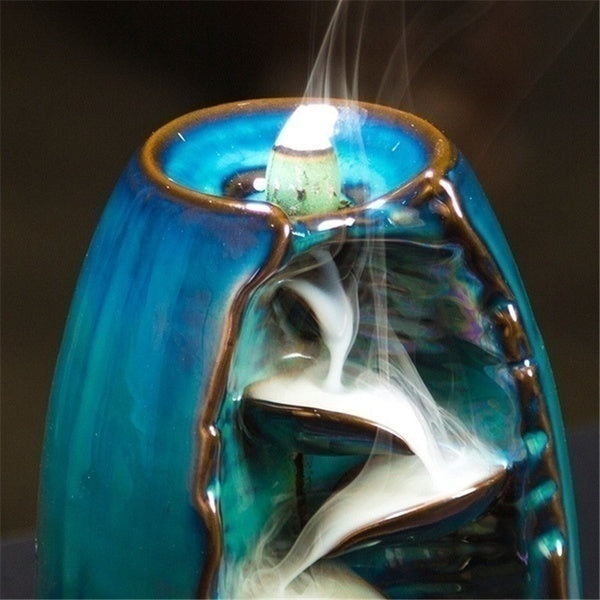 2020 New Waterfall New Ceramic Backflow Incense Burner Incenser Holder Home Decor Aromatherapy Ornament with 130 Cone Incense
