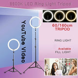 Photography Beauty Makeup LED Selfie Three-speed Cold Warm Lighting Dimmable LED Ring Light Bluetooth Control Phone Video Light Lamp and Stand