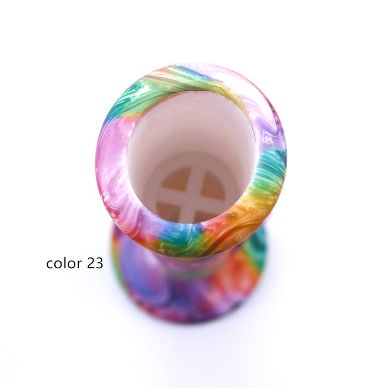 14 Inch Straight Type Multicolored Patterns Unbreakable Silicone Smoking Water Pipe with Ice Catcher and 14MM Glass Bowl