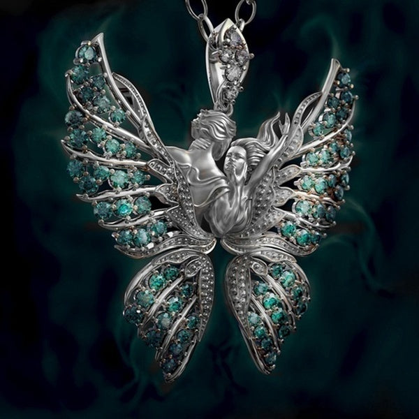 Exquisite Fashion 925 Silver 18K Gold Angel Wings Pendan Necklace Angel Necklace Wings Prayer Necklace Faith And Love Jewelry Gifts