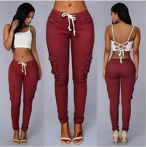 Women's Multi-bag Drawstring Tie Casual Pants High Waist Fashion Tights XS-4XL 6 Colors