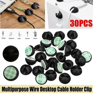 20/30/50PCS Multipurpose Car Desk Desktop Wall USB Wire Cord Cable Holder Clip Organizer Retainer Clamps