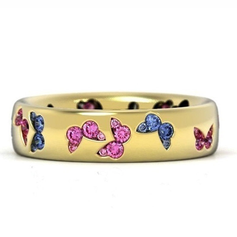 Fashion Jewelry 18K Gold Ring Natural Gemstone White & Pink Sapphire Diamond Ring Bride Engagement Anniversary Party Charming Butterfly Gift Wedding Band Size 5 - 11