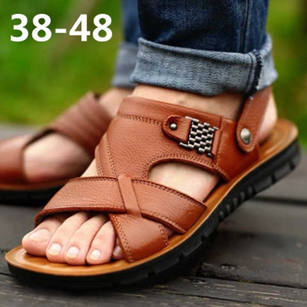 Beach Slippers Men Outdoor Fashion Summer Sandals Genuine Leather Breathable Slippers Zapatos Hombre Chaussures