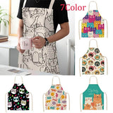New 7 Color Fashion Parent-child Kitchen Apron Funny Cartoon Cat Printed Sleeveless Cotton Linen Aprons for Men Women Home Cleaning Tools