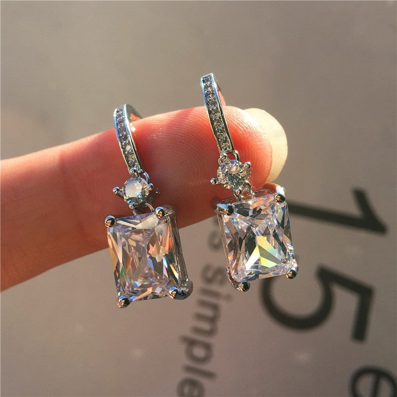 Sell Well 925 Sterling Silver Earrings Women Fashion Square Shape Zircon Pendant Jewelry