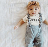 Cute Baby Romper 'loved' Letter Print Baby Girls Cloth Cotton Infant Jumpsuit