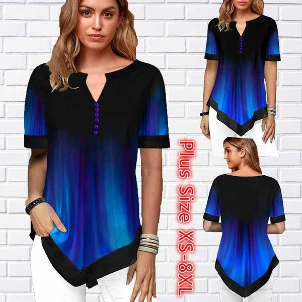 Women Printed Split Neck Short Sleeve Blouse T Shirt Plus Size XS-8XL