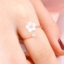 Load image into Gallery viewer, Fashion Accessories Silver Rose Gold Flower Open Ladies Wedding Rings Jewelry Gifts Adjustable