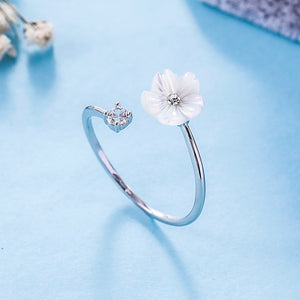 Fashion Accessories Silver Rose Gold Flower Open Ladies Wedding Rings Jewelry Gifts Adjustable