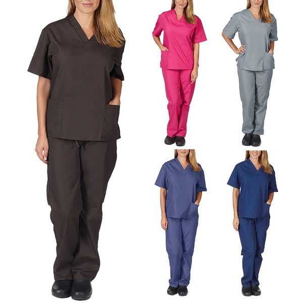 Unisex Adults Medical Uniform Doctor Nursing Scrubs Costumes V-neck Work Suits