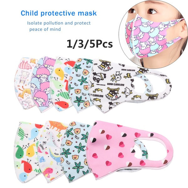 1/3/5pcs Children Mouth Mask Anti Dust Mouth-Muffle Facial Protective Covers Mouth Cap Breathable Students Washable Anti-Dust Breathable Unisex Respiratory Care Reusable Face Mask Kids's Mouth Respirator Mouth Mask