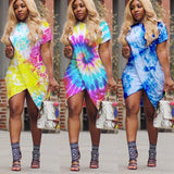 Plus Size Summer Dress Women Irregular Split Robe Sexy Club Tunic Short Sleeve Tie Dye Party T Shirt Dresses
