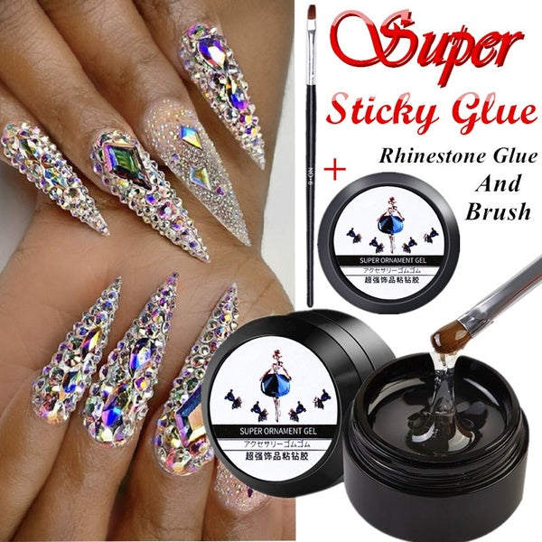 Super Sticky Rhinestone Glue Adhesive Tip Manicure Nail Art Clear UV Gel for Nail Extension Gel Building Nail Art Tips
