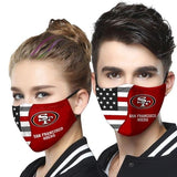 San Francisco 49ers Football Team Face Covering 3-Layer Cotton Bacteria Inproof All Over Print 1-10 Pcs