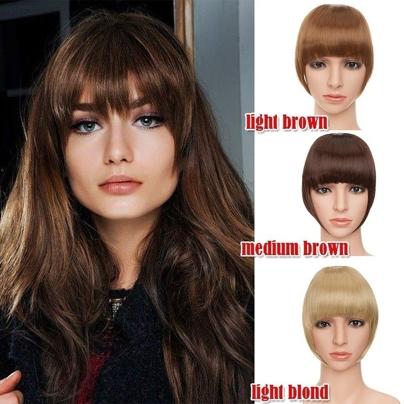 2020 New Mix Color Neat Hair Bang Extensions For Women Two Clips In Invisible Side/Neat Bangs Natural As Human Hairpiece Cosplay