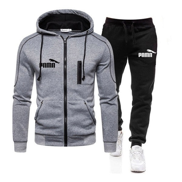 Men Hoodie + Pants Set Pullover Sweatshirt Casual Trousers Tracksuits Zipper Fashion Coat