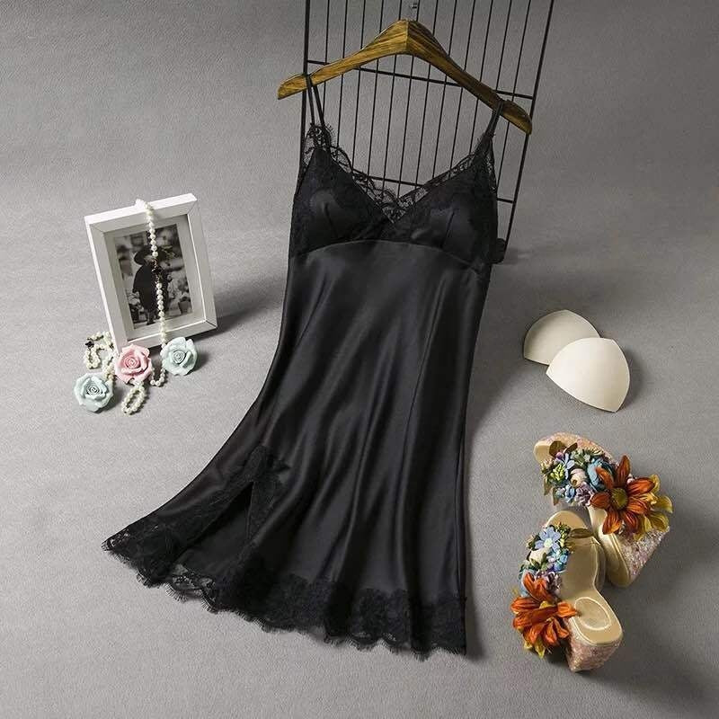 eep V Neck Women Satin Nightgown Sexy Lace Sleepwear Strap Spaghetti Ladies Silk Nightwear Sleep Wear Night Gown Lingerie Dress