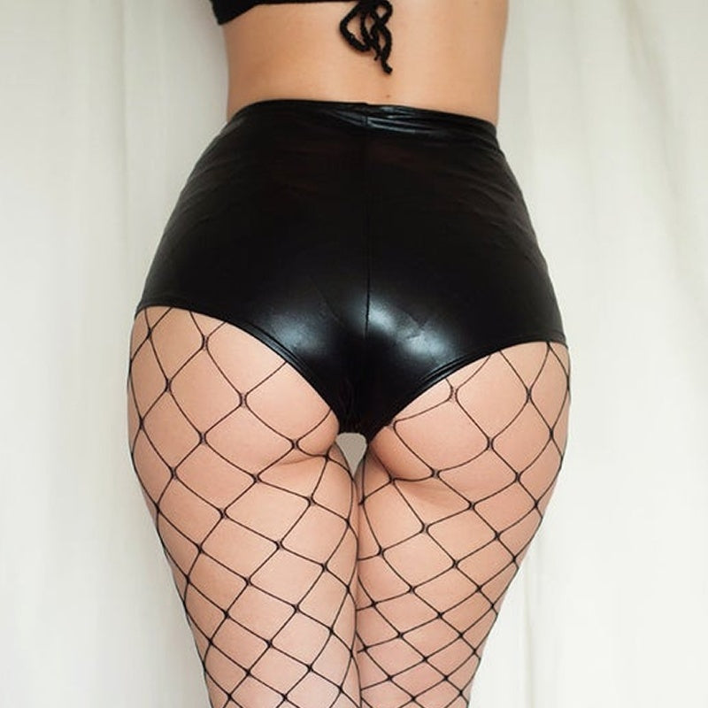 New Charming Women Sexy Solid Color Elastic Waist Stretch Short Leggings PU Faux Leather Shorts Shiny Hot Short Pants Night Club Shorts dancer shorts  plus size S-5XL