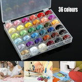 36pcs Colorful Spools/Empty Plastic Bobbins Case Organiser Set Sewing Machine Bobbin Box Storage Sewing Accessories