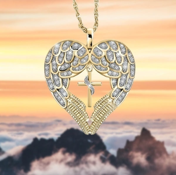 1Pc Luxury Heart Love Wings Cross 18K Gold Diamond Pendant Necklace Fashion Personality Women'S Gifts Jewelry Fashion Accessories