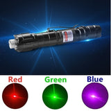 2020 Power 5 miles Green Red Blue Laser Pointer Pen Visible Beam Flashlight Light 5mW Lazer 532nm + 18650 Battery+ Wall Charger