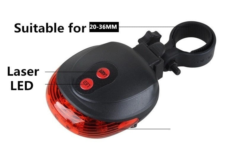 New Hot Bicycle LED Light 2 Lasers Night Mountain Bike Tail Light Taillight MTB Safety Warning Bycicle Light Bicycle Rear Light Lamp (without battery, because the battery can not shipping by air)