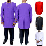 Clergy Men Long Sleeve Slim Jacket Golden Striped Church Coat Stand Collar Pocket Fashion Priest Jacket(No Chain)