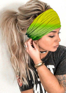 Women Fashion Boho Gradient Color Head Scarf Quick Dry Sport Sweat-absorbent Turban Stretchy Cotton Headband Summer Workout Yoga Headband Stretchy Head Scarf Fashion Accessories