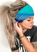 Load image into Gallery viewer, Women Fashion Boho Gradient Color Head Scarf Quick Dry Sport Sweat-absorbent Turban Stretchy Cotton Headband Summer Workout Yoga Headband Stretchy Head Scarf Fashion Accessories