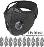1Pc Outdoor Cycling Mask PM2.5 Dust Mask Can Be Washed Reusable Isolate Masks with 2/4/6/8/10/12/14/16/18/20 Filters