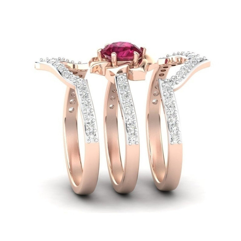 Fashion Accessories 14K Rose Gold Natural Ruby Diamond Ring Ladies Engagement Wedding Ring Fine Jewelry