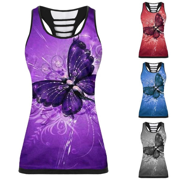 2020 Fashion Women Plus Size 3d Butterfly Print Racerback Tank Top Summer Sleeveless Slim Vest Camisole Femme Shirts Plus Size