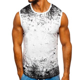 Summer New Fashion Men's Casual Sleeveless T-shirt Round Neck Vest Loose Sports Vest Printed Fitness Vest Beach Seaside Comfortable Vest