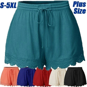 Women's Fashion Lace-up Solid Color Summer Shorts Ladies Casual Short Pants Plus Size(S-5XL)