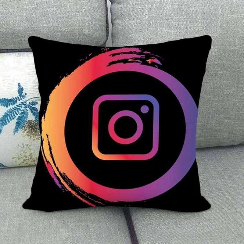 26 Styles Pillow Cover Tik-Tok Social Media Potrait Logo White Pattern Square Pillow Case Sofa Decorative Throw Pillow Cushion Cover Home Accessories (Excluding Pillows)45*45Cm
