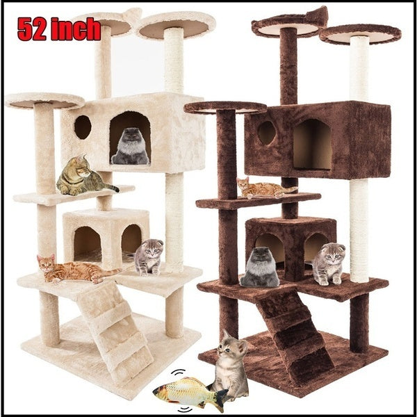 52' Cat Tree Tower Condo Furniture Scratch Post Pet Tree Kitty Play House, Cat Catnip Electric Fish USB Charging Pets Chewing Toy